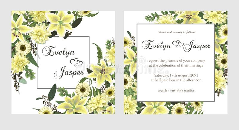 Stellen Sie für Heiratseinladung, Grußkarte, Abwehrdatum, Fahne ein Farnblatt, -Buchsbaum, -brunia und -eukalyptus Blumen der wei lizenzfreie abbildung