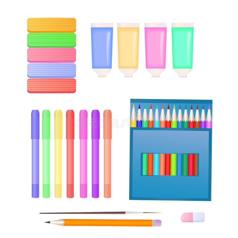 Stellen Sie für Kind-` s Kreativität ein: Plasticine, Markierungen, Farben und farbige Bleistifte stock abbildung