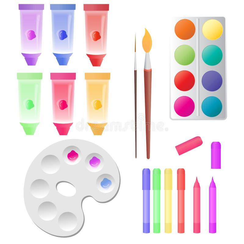 Stellen Sie für Kind-` s Kreativität ein: Rohre mit Farben, Aquarell, Markierungen, Palette lizenzfreie abbildung