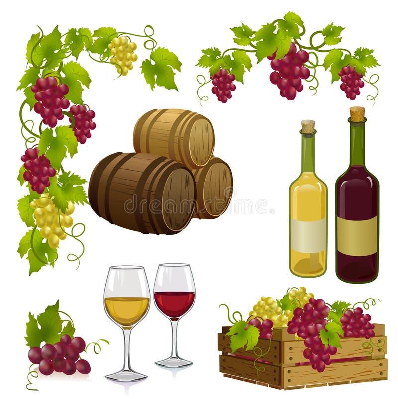 Stellen Sie für Weinproduktion ein vektor abbildung