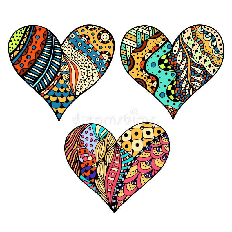 Stellen Sie Farbige Herzen Ein Vektor Abbildung - Illustration von ...