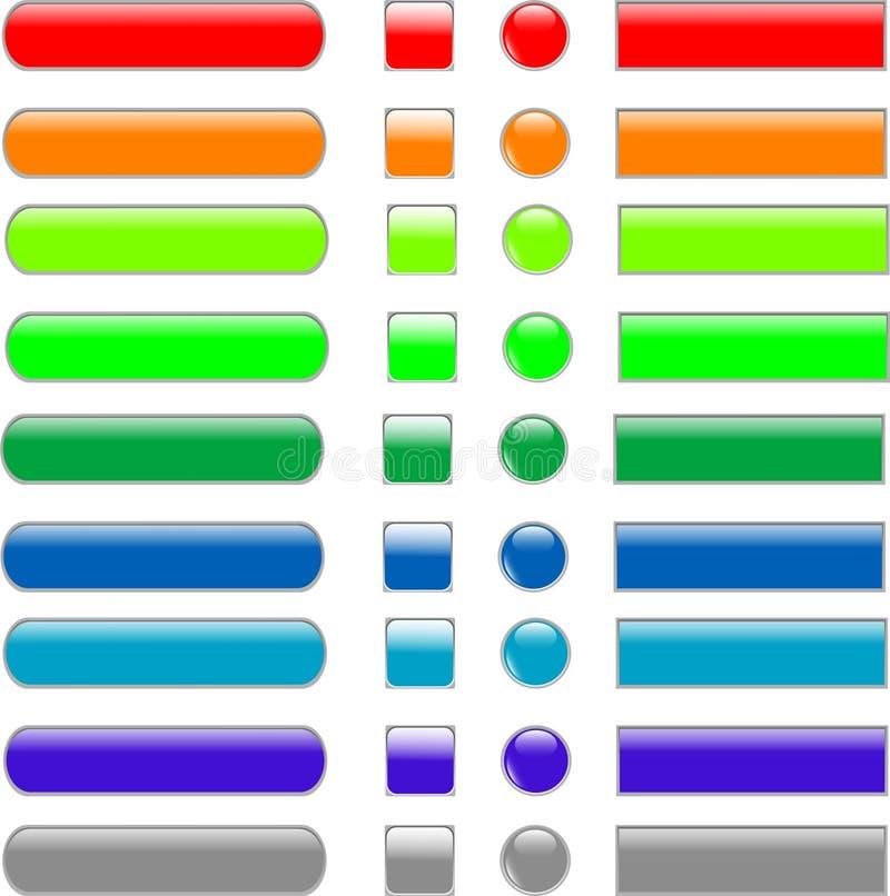 Stellen Sie farbige leere Web-Taste ein lizenzfreie abbildung