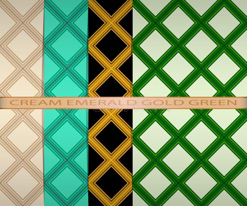 Stellen Sie farbiges quadratisches Muster ein Creme, Smaragd, Gold, grün stock abbildung