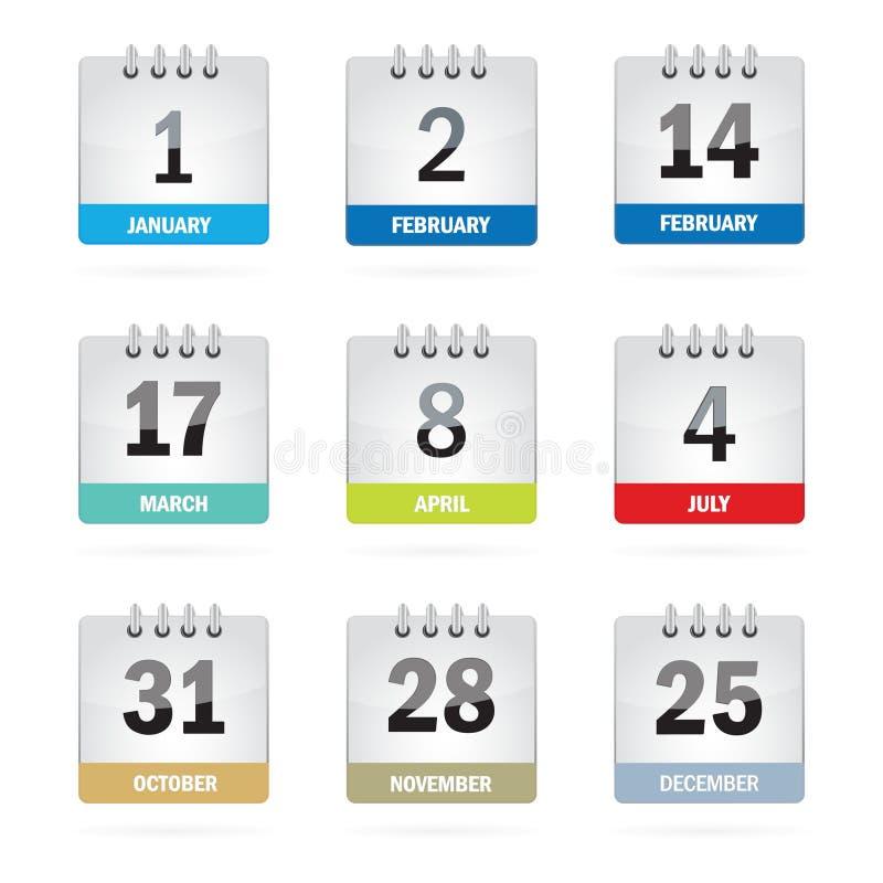 Stellen Sie Feiertags-Kalender-Ikonen ein stock abbildung