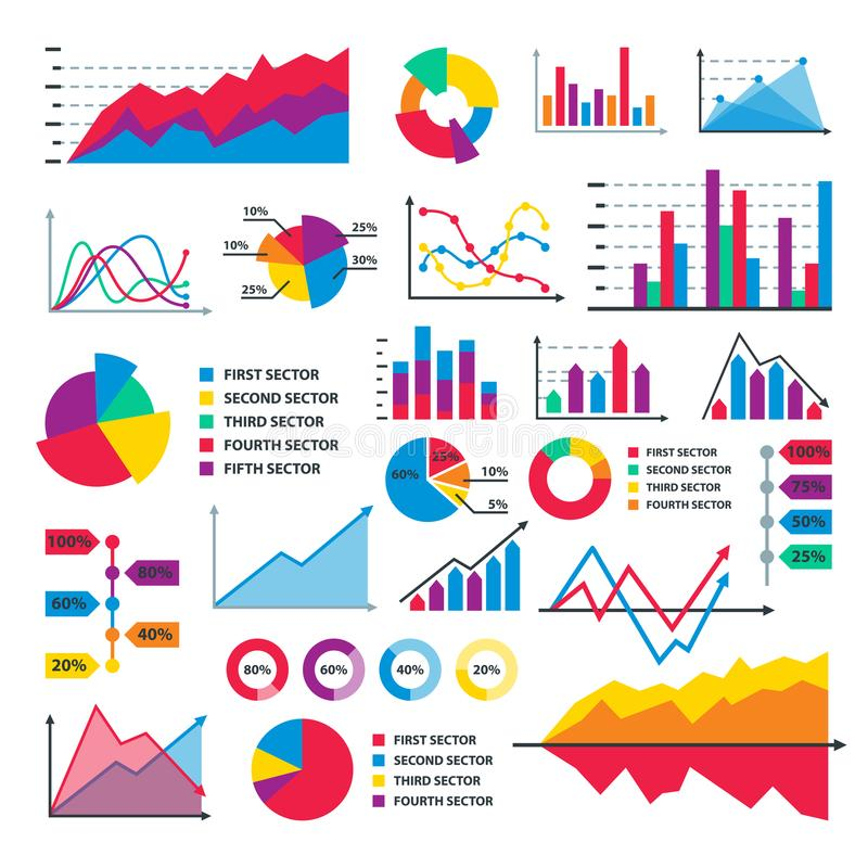 Stellen Sie Fließschema-Diagrammdatenschablone des Diagrammdiagrammelementvektorgeschäfts infographic grafisch dar stock abbildung