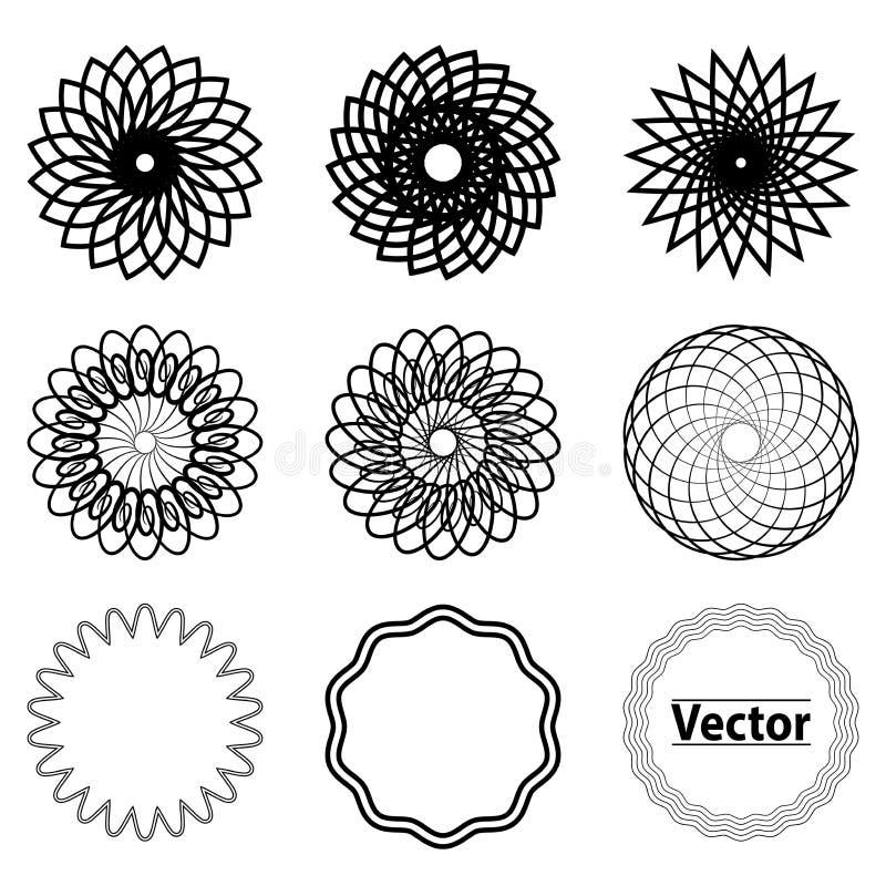 Stellen Sie Fractal- und Strudelformelement ein vektor abbildung