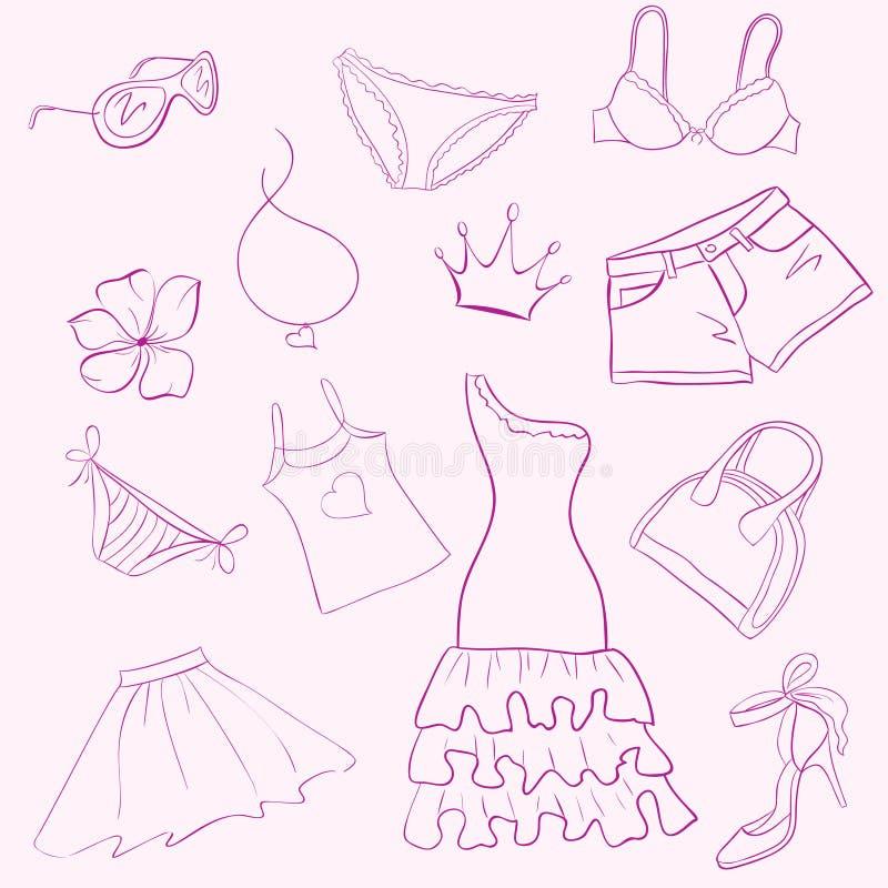 Stellen Sie Frauenkleidung ein stock abbildung