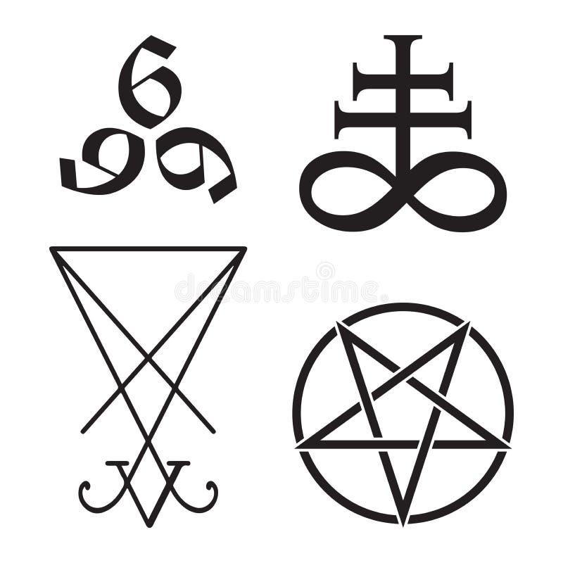 Stellen Sie geheimnisvolle Symbole von Leviathan Kreuz, vom Pentagram, von Lucifer-sigil und von 666 die Zahl des Tierhandgezogen lizenzfreie abbildung