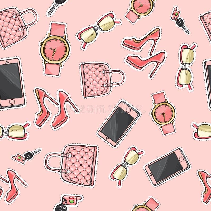 Stellen Sie Geldbeutel ein Gläser cellphone Schuhe Duftstoff stock abbildung