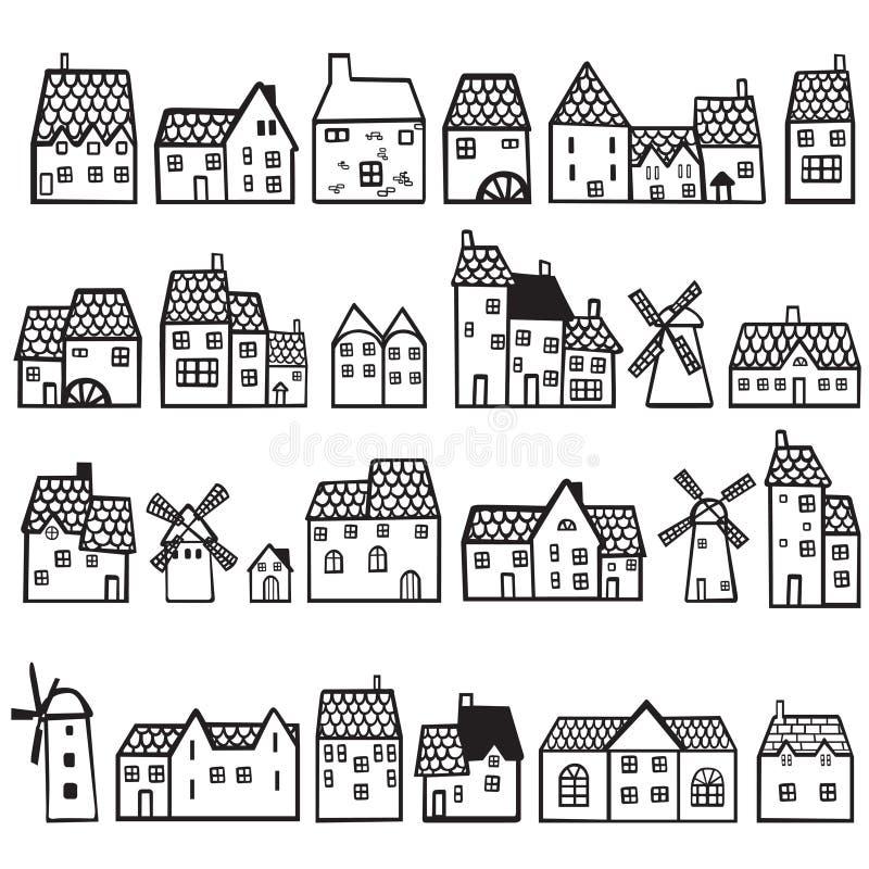 Stellen Sie gemalte Häuser ein stock abbildung
