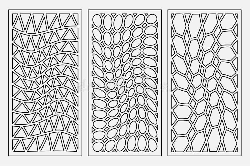Stellen Sie geometrische Verzierung des Musters ein Karte für Laser-Ausschnitt Dekoratives Design des Elements Geometrisches Must lizenzfreie abbildung