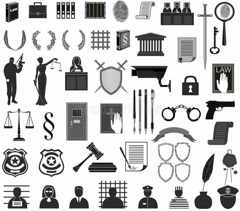 Stellen Sie Gericht ein unterschiedliches Ikonen clipart Themis-Hammer Waageschild-Kranzleute beurteilen Verbrechen vektor abbildung