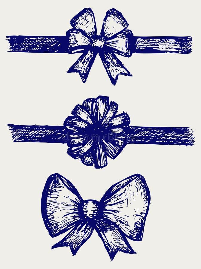 Stellen Sie Geschenkbögen mit Farbbändern ein stock abbildung