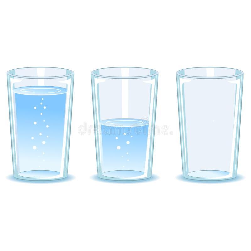 Stellen Sie Glas Wasser ein vektor abbildung