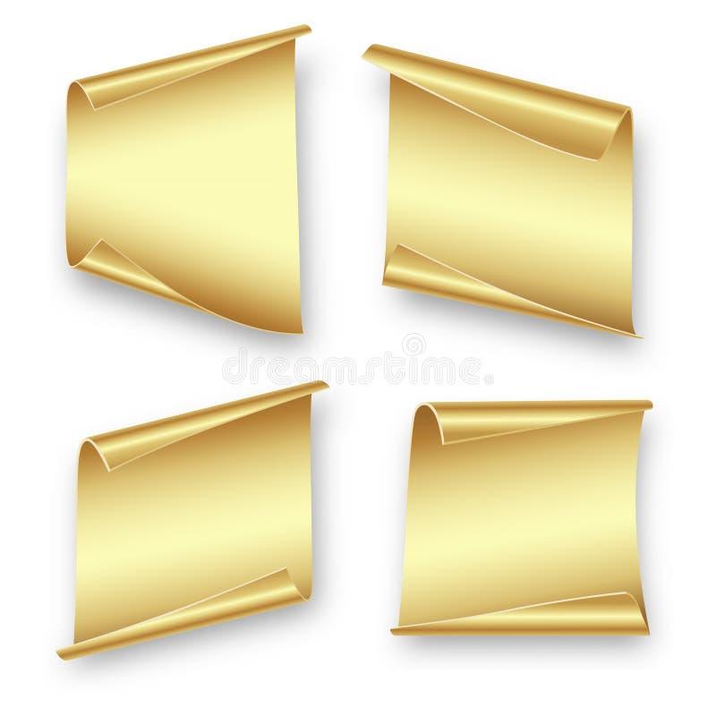 Stellen Sie Goldblätter papier ein lizenzfreie abbildung
