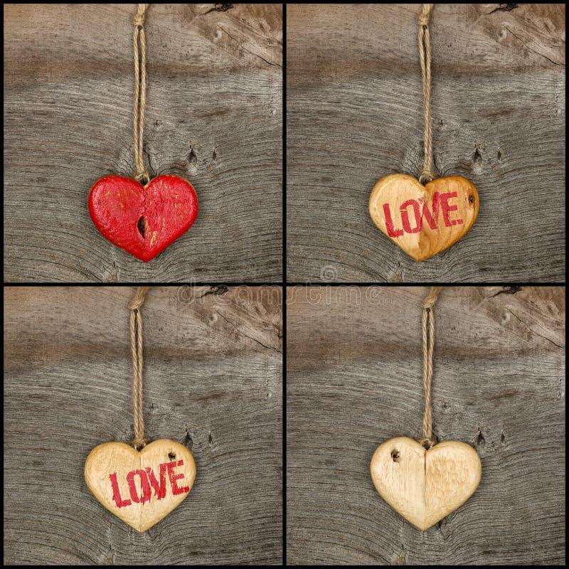 Stellen Sie hölzerne Herzzeichen der Collagen-Valentinsgruß-Liebesmitteilung auf rauem ein stockfoto