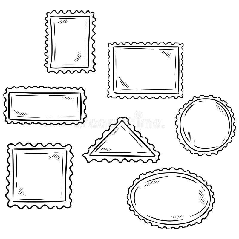 Stellen Sie Handvon den gezogenen flüchtigen Posten-Stempelsymbolen ein postkarte Auch im corel abgehobenen Betrag vektor abbildung