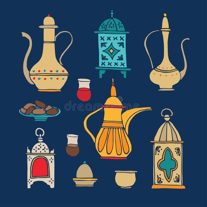 Stellen Sie Handvon den gezogenen iftar Abendessenikonen ein Arabische Teekanne, Tasse Kaffee, Platte mit Dattelfrucht und dekora stock abbildung