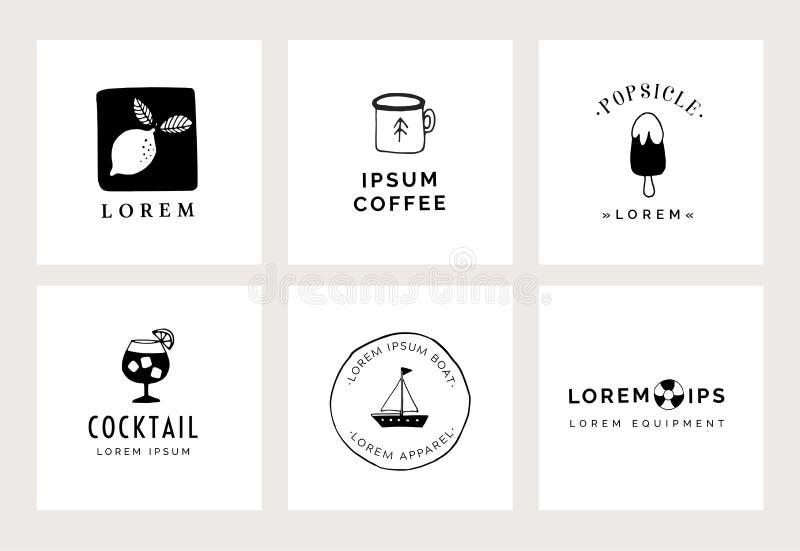 Stellen Sie Handvon den gezogenen minimalen Logoschablonen ein Nahrungsmittel-, Getr?nk- und Reisekonzept Einbrennende Identit?t  stock abbildung