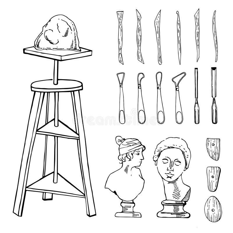 Stellen Sie Handvon den gezogenen Skizzenvektorbildhauer-Künstlermaterialien ein Stilisierte Schwarzweiss-Illustration mit Werkze stock abbildung