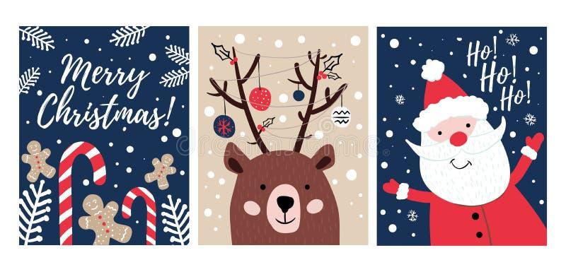 Stellen Sie Handvon den gezogenen Weihnachtskarten mit S??igkeiten, Pl?tzchen, B?ren und Sankt ein Frohe Weihnacht-Gru?-Karten Au lizenzfreie abbildung