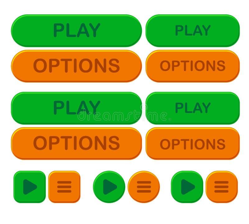Stellen Sie hellen Knopf des Spiels ein Wahlen und Spiel in der grünen und orange Farbe lizenzfreie abbildung