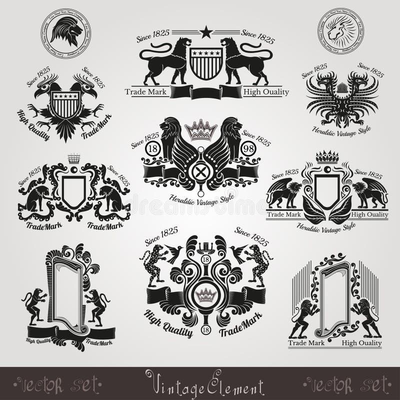 stellen Sie heraldische Aufkleber des Weinleseschattenbildes mit Muster und Tieren ein vektor abbildung