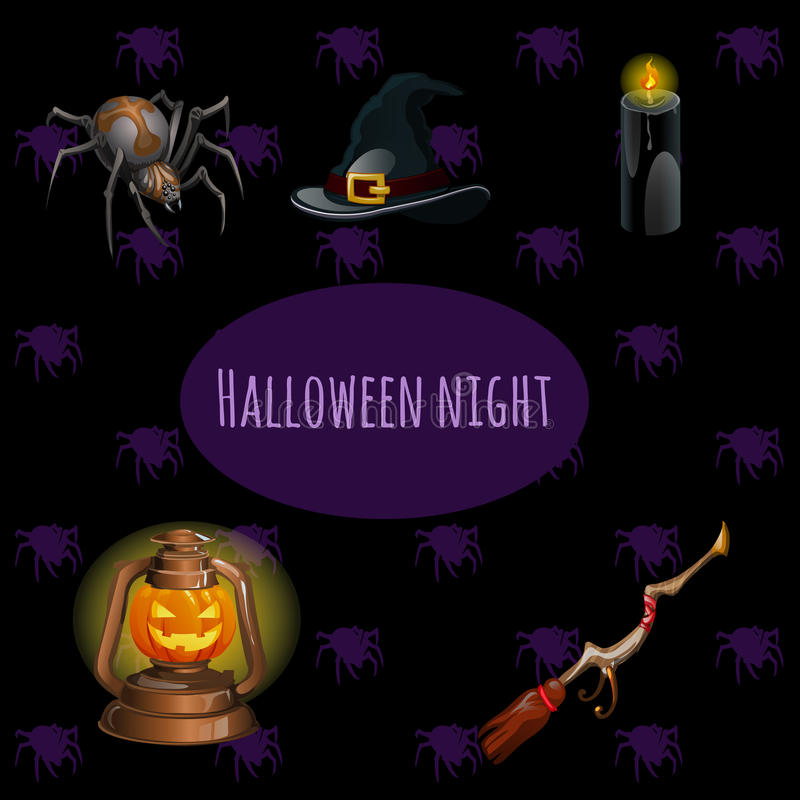 Stellen Sie Hexen auf Halloween-Partei ein stock abbildung