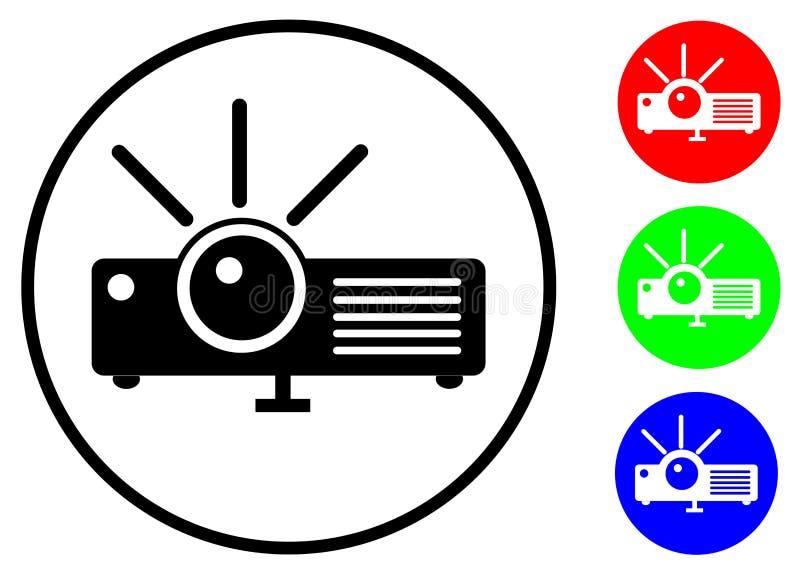 Stellen Sie Ikone ein flacher Projektor mit Schwarzem und RGB-Farbe ein vektor abbildung