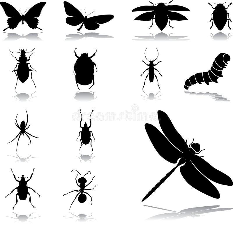 Stellen Sie Ikonen - 24 ein. Insekte lizenzfreie abbildung