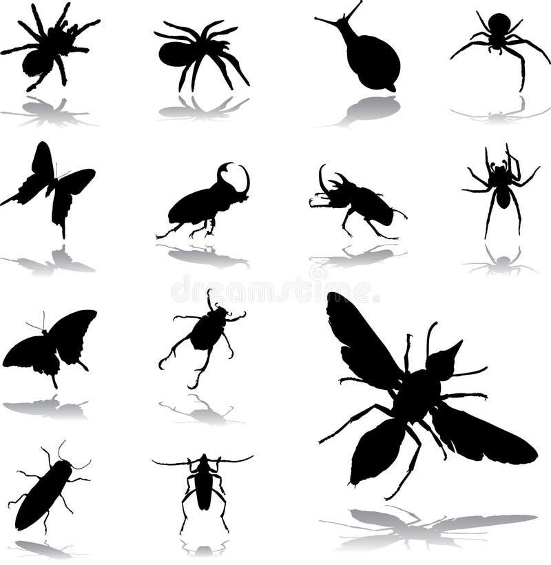 Stellen Sie Ikonen - 79 ein. Insekte stock abbildung