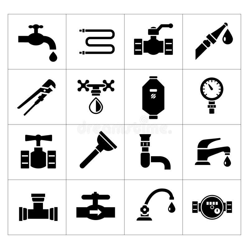 Stellen Sie Ikonen der Klempnerarbeit ein stock abbildung