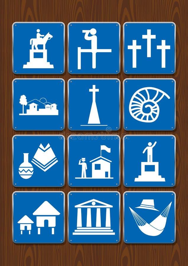 Stellen Sie Ikonen des Monuments, Standpunkt, Kirchhof, Stadt, Kirche, Fossil, Handwerk, Bibliothek, Kabinen ein Ikonen in der bl vektor abbildung