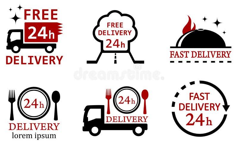 Stellen Sie Ikonen für Lieferungslebensmitteldienstleistungen ein lizenzfreie abbildung