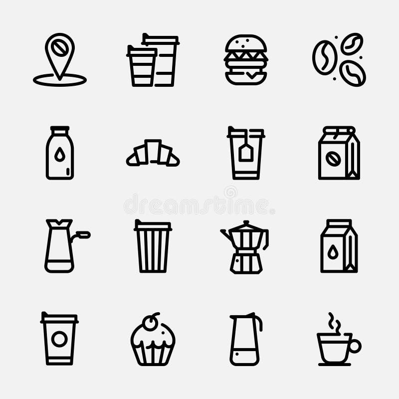 Stellen Sie Ikonen von coffe ein stock abbildung