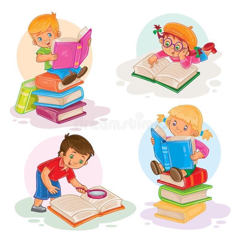 Stellen Sie Ikonen von den kleinen Kindern ein, die ein Buch lesen vektor abbildung