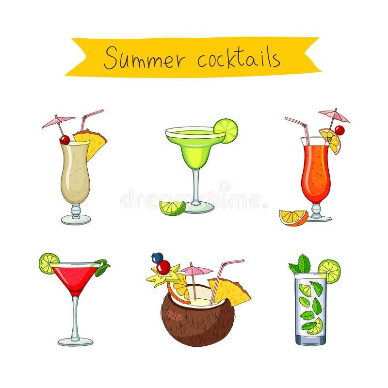 Stellen Sie Ikonen von verschiedenen Cocktails ein stock abbildung
