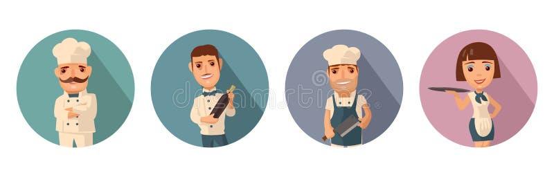Stellen Sie Ikonencharakterkoch ein Kellner, Chef, Kellnerin Flache Illustration des Vektors stock abbildung