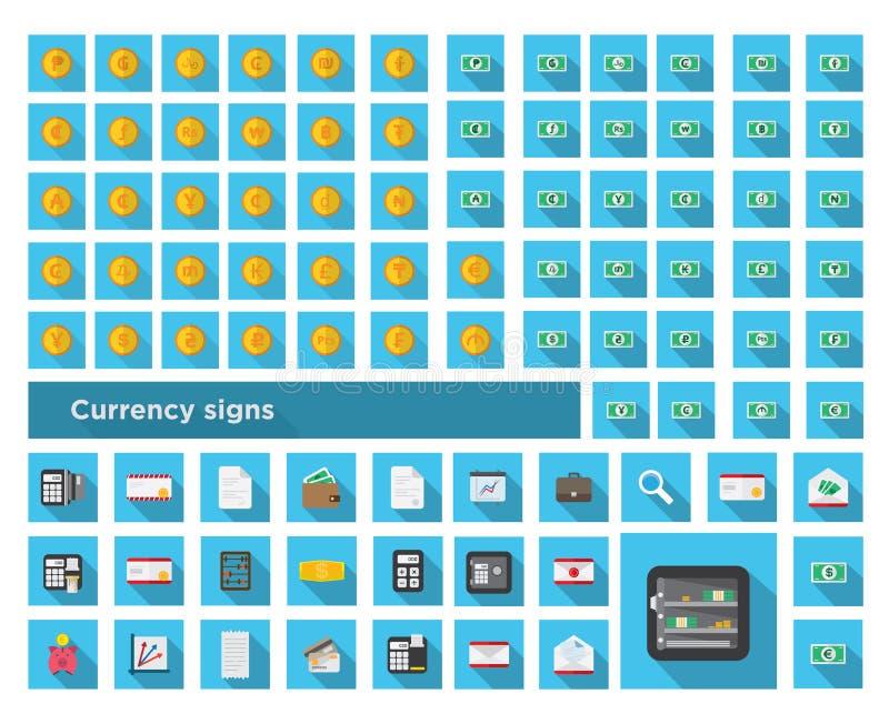 Stellen Sie Ikonenfarbfinanzierung ein und stellen Sie Währungszeichen ein lizenzfreies stockbild