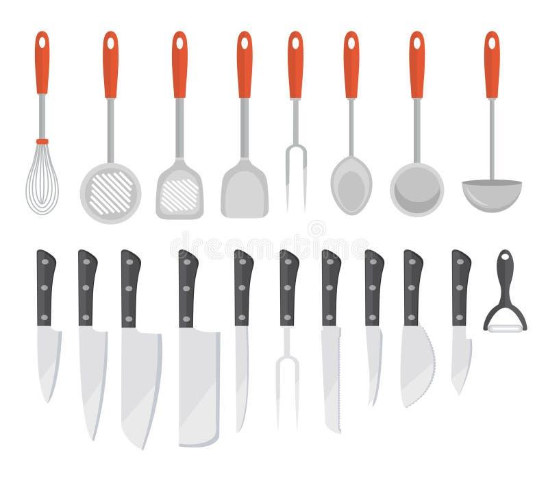Stellen Sie Küchenwerkzeuge, flache Art ein Stellen Sie Kochgeräte, die Ikonen ein, die auf weißem Hintergrund lokalisiert werden lizenzfreie abbildung