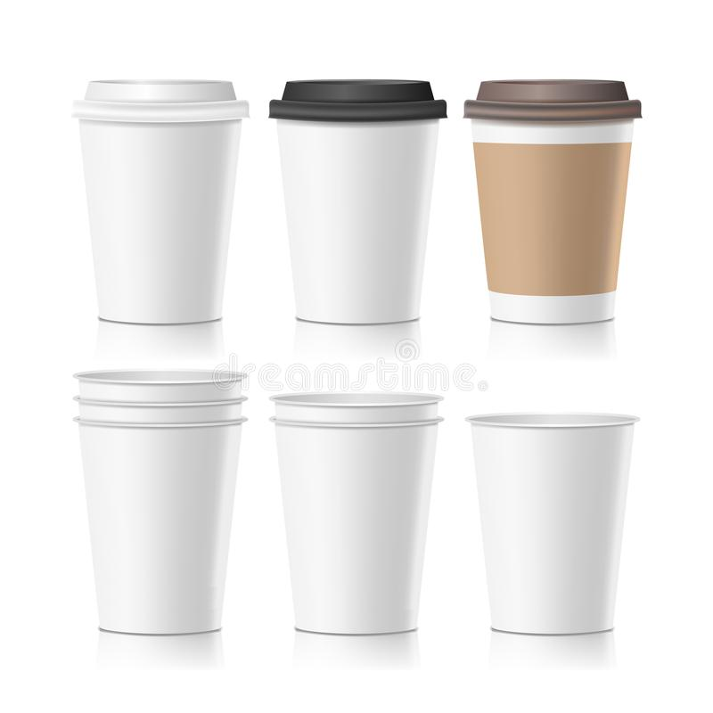 Stellen Sie Kaffee-Papierschalen-Vektor ein Leeres Kaffeetasse-Modell des unbeschriebenen Papiers der Sammlungs-3d Getrennte Abbi stock abbildung