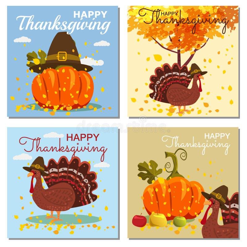 Stellen Sie Karten-glückliche Danksagungs-Feier mit Karikatur-Kürbis und Autumn Leaves ein Vektor, Illustration, Design, Baner vektor abbildung