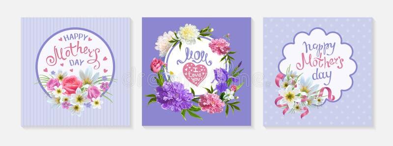 Stellen Sie Karten Mutter-Tag ein stock abbildung
