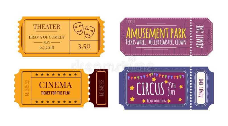 Stellen Sie Karten und Kupons im Theater, Kino, Zirkus, Vergnügungspark ein lizenzfreie abbildung