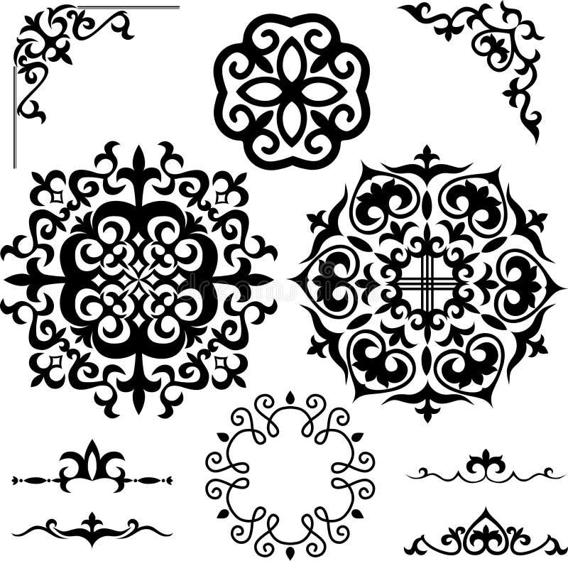 Stellen Sie kasachische asiatische Verzierungen und Muster ein lizenzfreie abbildung