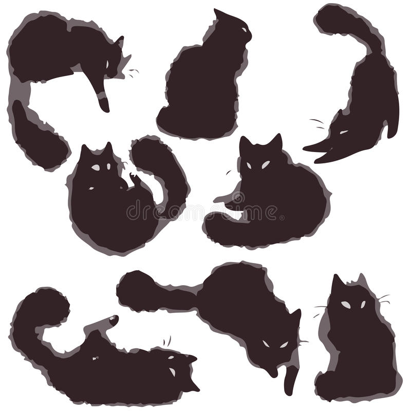 Stellen Sie Katzen - Vektor ein lizenzfreie abbildung