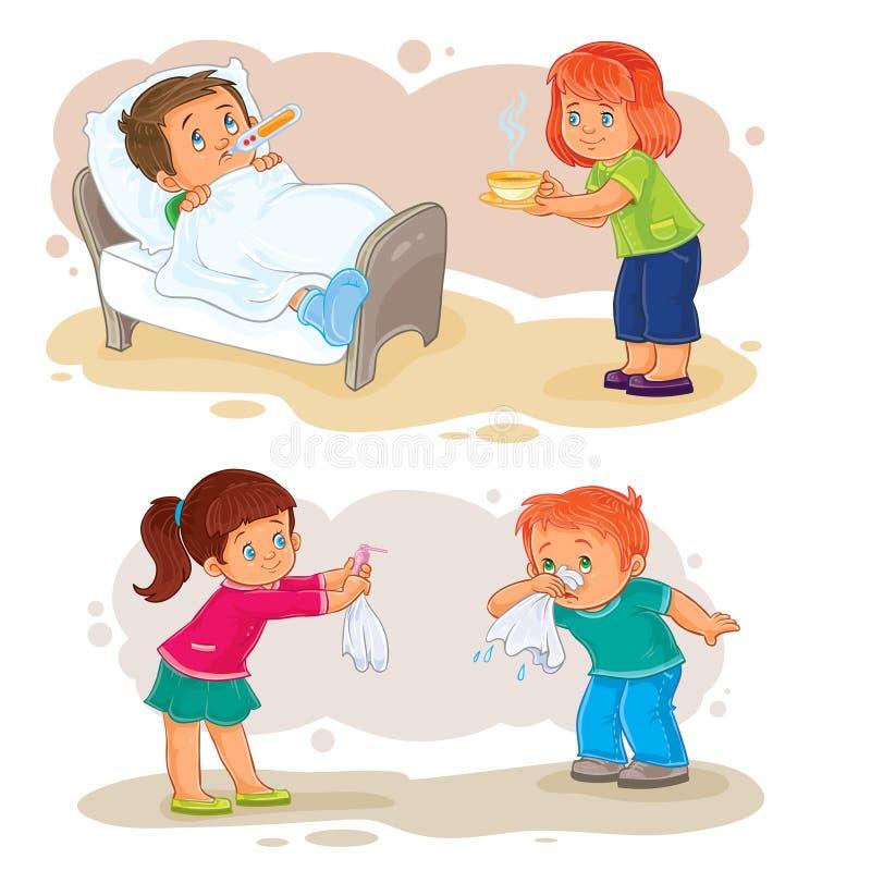 Stellen Sie kleinen Jungen der Ikonen krankes und mitfühlendes Mädchen ein vektor abbildung