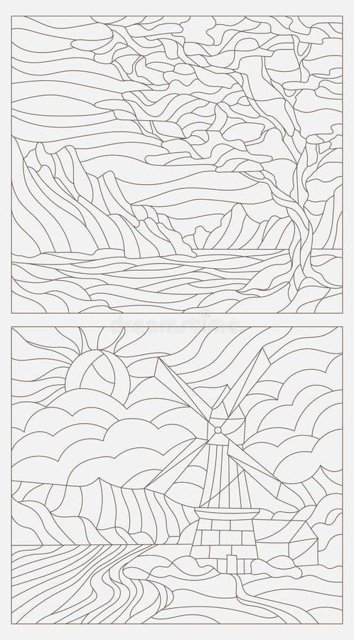 Stellen Sie Konturnillustrationen des Buntglases Windows mit Landschaften ein lizenzfreie abbildung