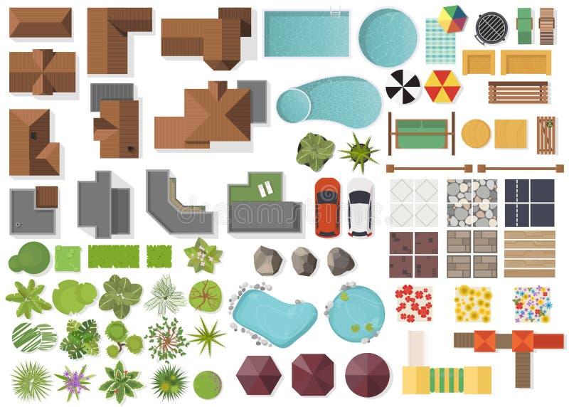 Stellen Sie Landschaftselemente, Draufsicht ein Haus, Garten, Baum, See, Schwimmbäder, Bank, Tabelle Landschaftsgestaltung den Sy