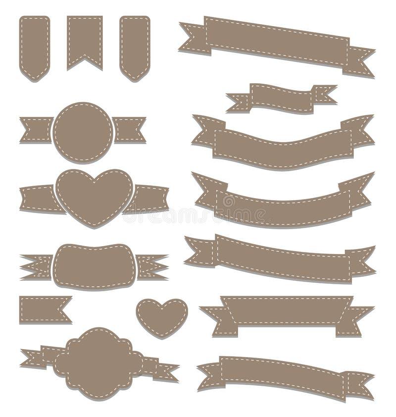 Stellen Sie lederne Bänder, Weinleseaufkleber, geometrische Embleme ein lizenzfreie abbildung